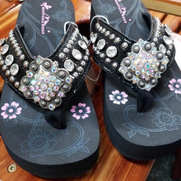 f2e6d07fea55 Montana West Black Shiny Bling Flip Flop Sandals